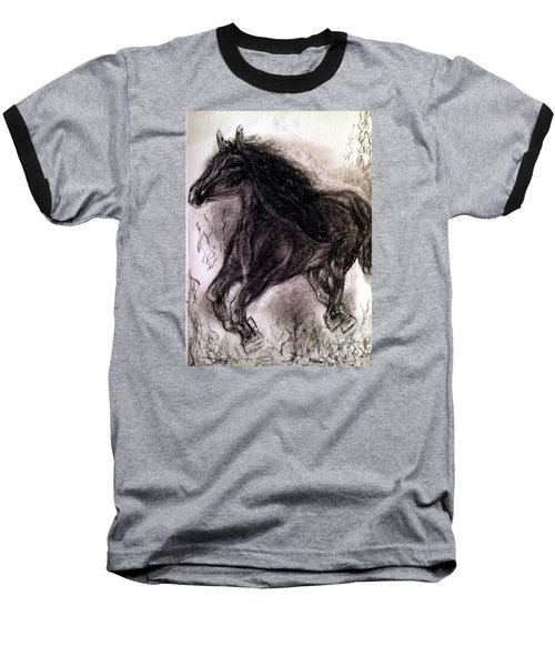 Baseball T-Shirt featuring the painting Horse by Brindha Naveen