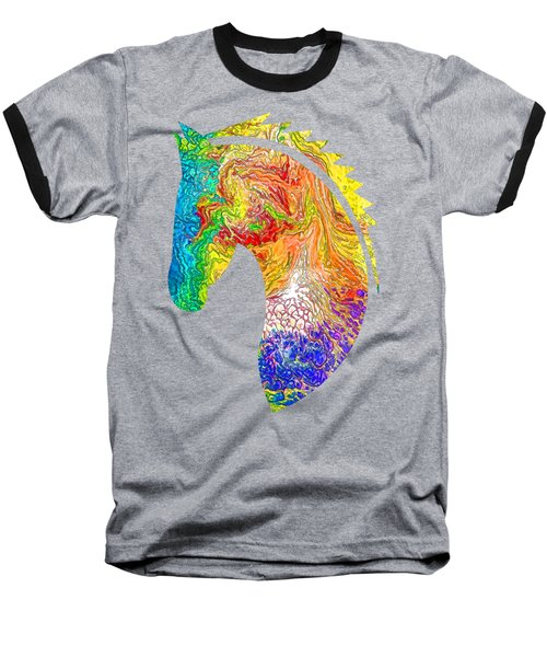 Horse Colorful Silhouette Baseball T-Shirt