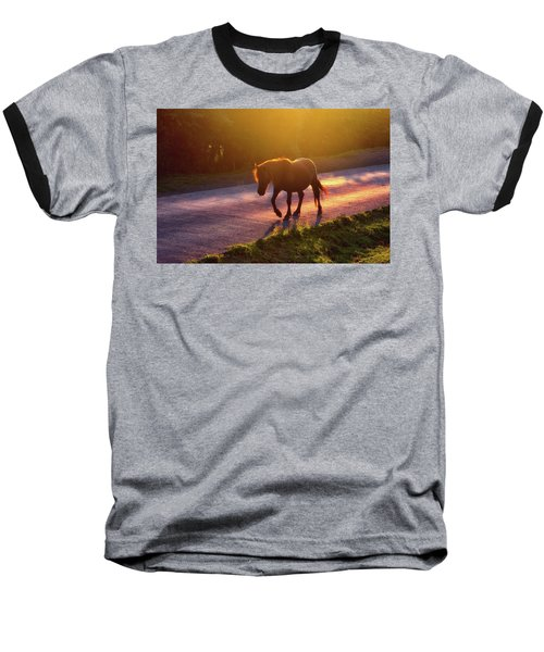 Horse Crossing The Road At Sunset Baseball T-Shirt