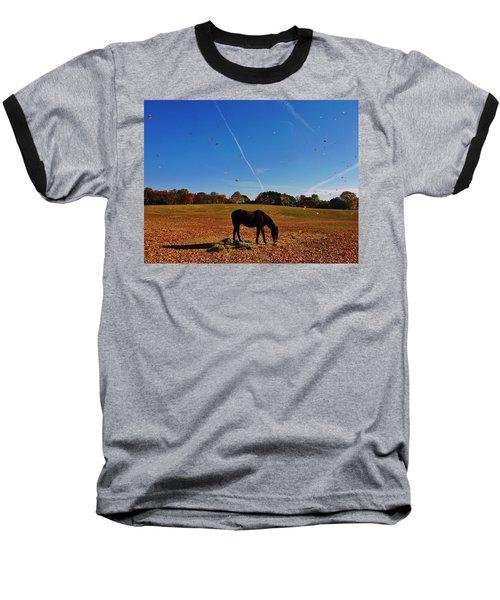 Horse Farm In The Fall Baseball T-Shirt by Ed Sweeney