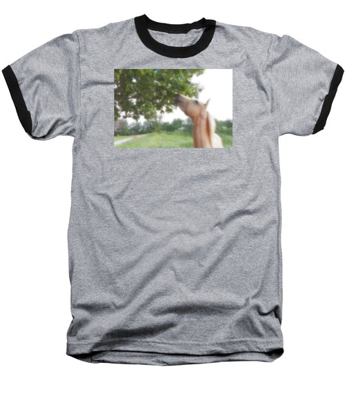 Baseball T-Shirt featuring the digital art Horse Grazes In A Tree by Jana Russon