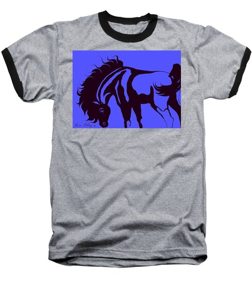 Horse In Blue And Black Baseball T-Shirt by Loxi Sibley