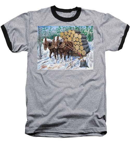Horse Log Team Baseball T-Shirt