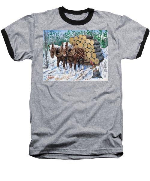Horse Log Team Baseball T-Shirt