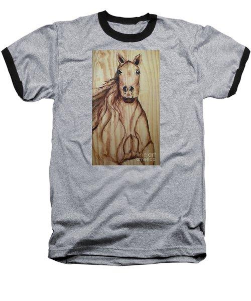 Baseball T-Shirt featuring the painting Horse On Wood by Alga Washington