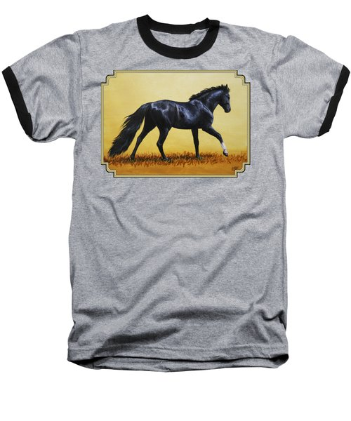 Horse Painting - Black Beauty Baseball T-Shirt by Crista Forest