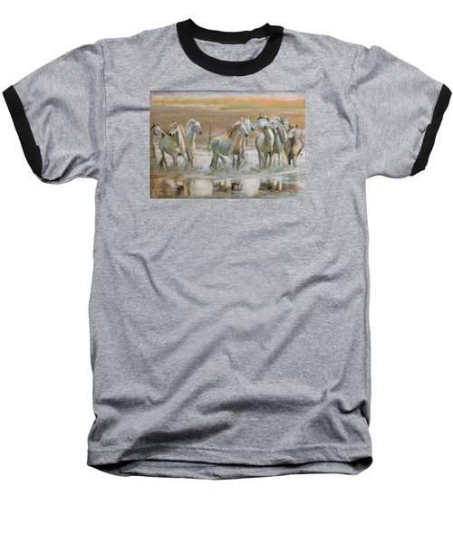 Horse Reflection Baseball T-Shirt by Vali Irina Ciobanu
