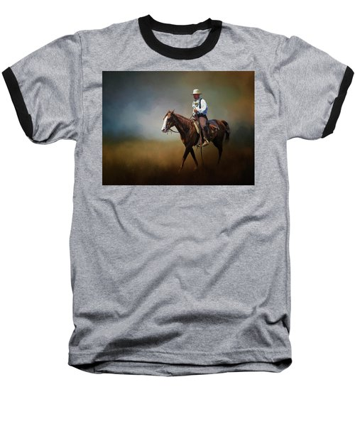 Baseball T-Shirt featuring the photograph Horse Ride At The End Of Day by David and Carol Kelly