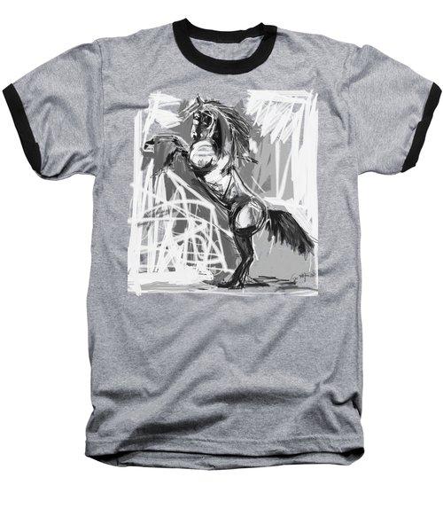 Horse Rising High Black And White Baseball T-Shirt