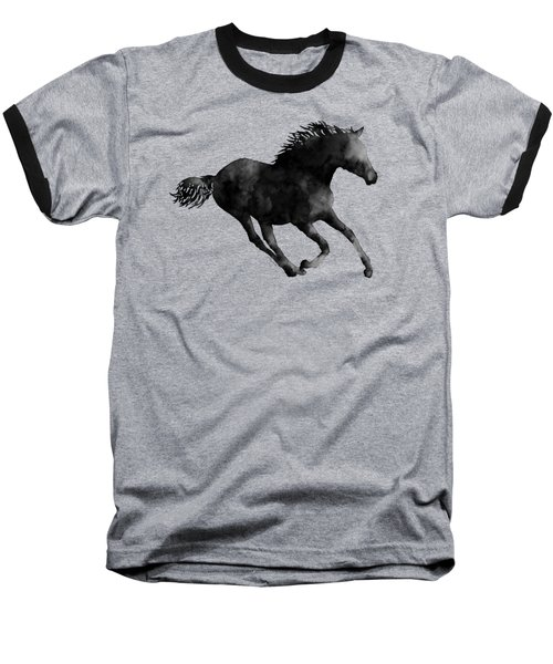 Horse Running In Black And White Baseball T-Shirt