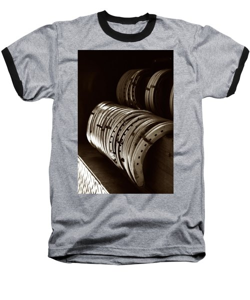 Baseball T-Shirt featuring the photograph Horse Shoes In Sepia by Angela Rath
