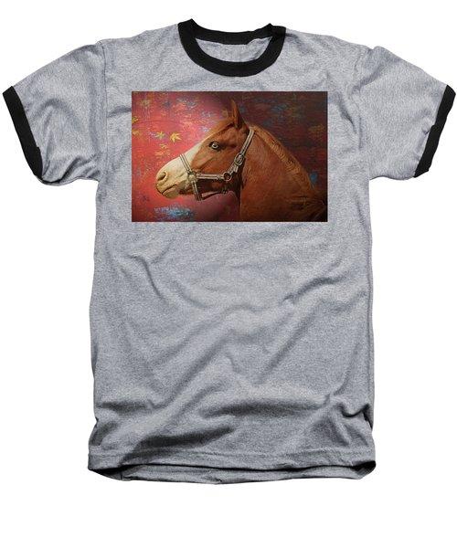 Horse Texture Portrait Baseball T-Shirt