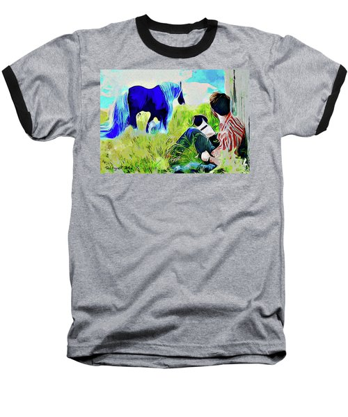 Baseball T-Shirt featuring the painting Horse Whisperer by Ted Azriel