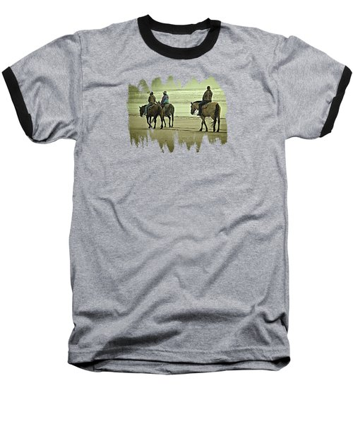 Baseball T-Shirt featuring the photograph Horseback Riding On The Beach by Thom Zehrfeld