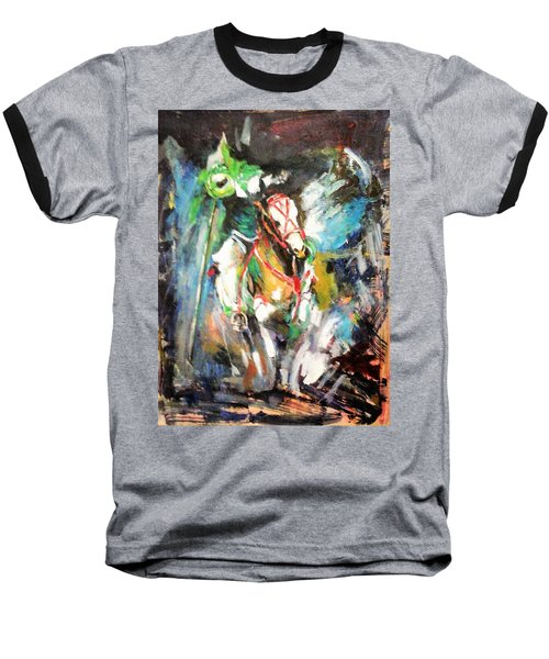 Horse,horseman And The Target Baseball T-Shirt by Khalid Saeed