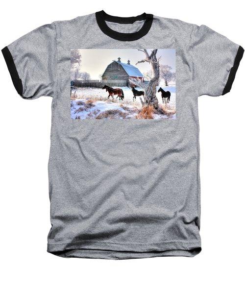 Horses And Barn Baseball T-Shirt