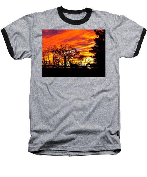 Horses And The Sky Baseball T-Shirt by Donald C Morgan
