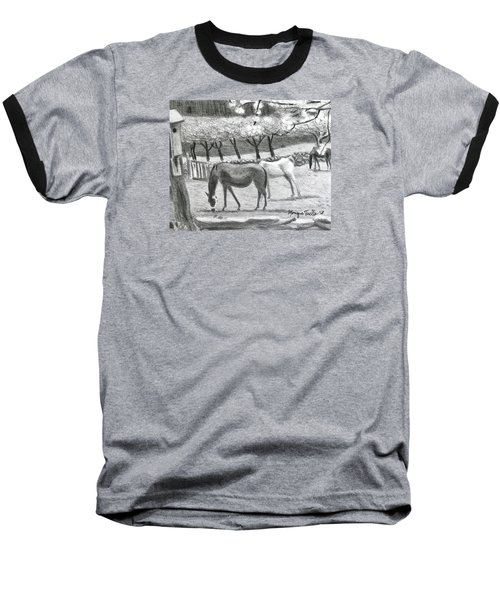 Horses And Trees In Bloom Baseball T-Shirt