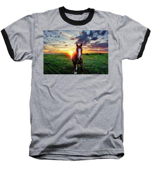 Horses At Sunset Baseball T-Shirt