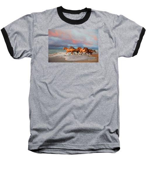 Horses At The Beach Baseball T-Shirt