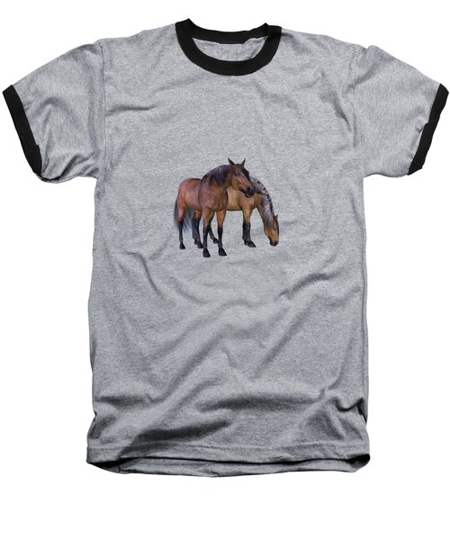 Horses In A Misty Dawn Baseball T-Shirt