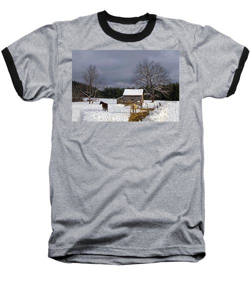 Horses In Snow Baseball T-Shirt
