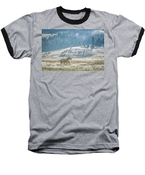 Horses In The Frost Baseball T-Shirt by Keith Boone