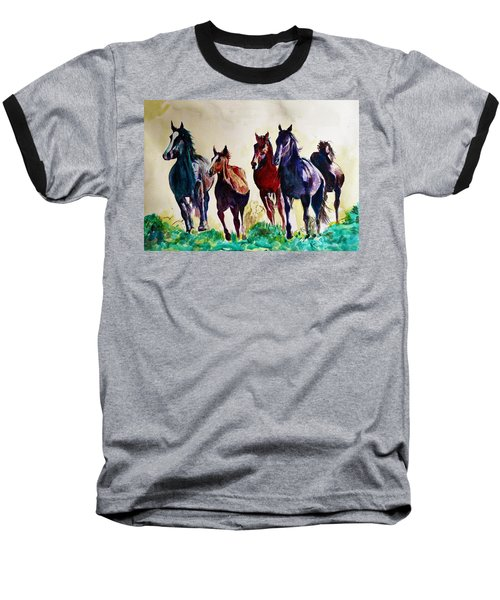 Horses In Wild Baseball T-Shirt