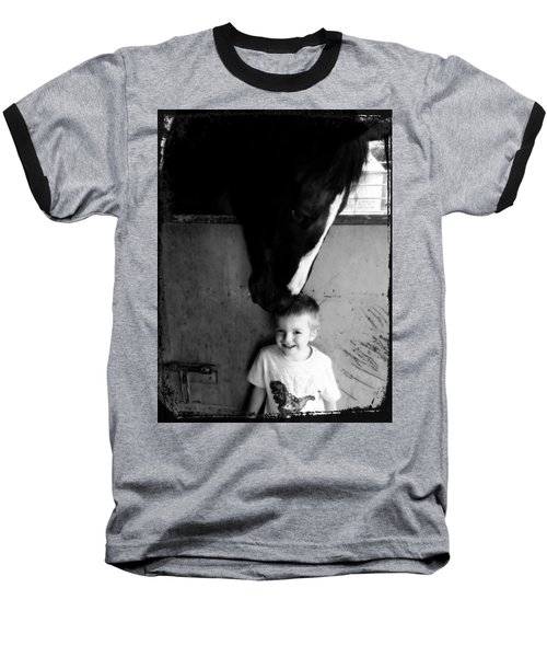 Baseball T-Shirt featuring the photograph Horses Love by Amanda Eberly-Kudamik
