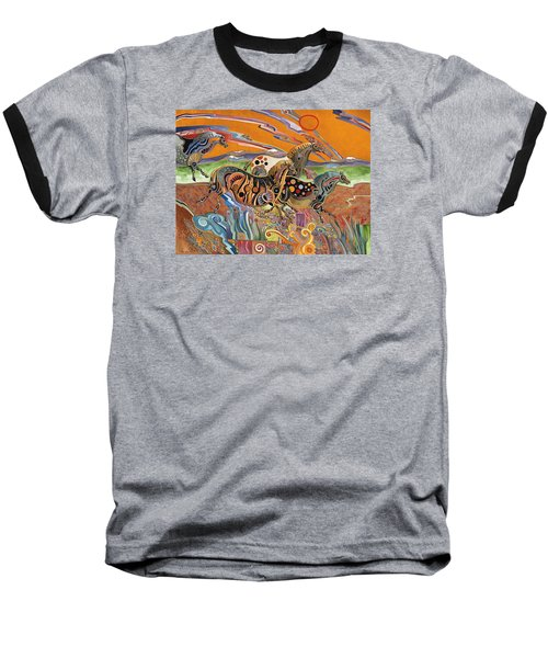 Horses Of The Ardeche Valley France Baseball T-Shirt by Bob Coonts
