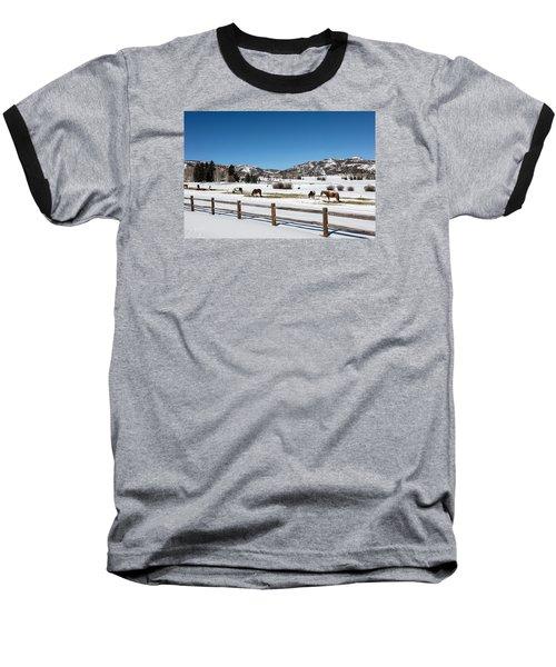 Horses On A Small Farm Near The Aspen Airport Baseball T-Shirt by Carol M Highsmith
