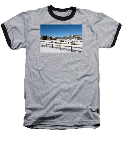 Horses On A Small Farm Near The Aspen Airport Baseball T-Shirt