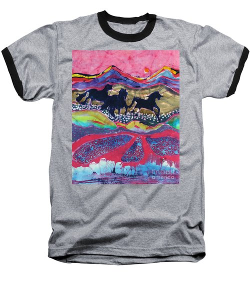 Horses Running Thru A Stream Baseball T-Shirt