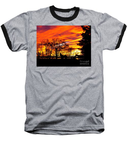Baseball T-Shirt featuring the photograph Horses Under A Painted Sky by Donald C Morgan