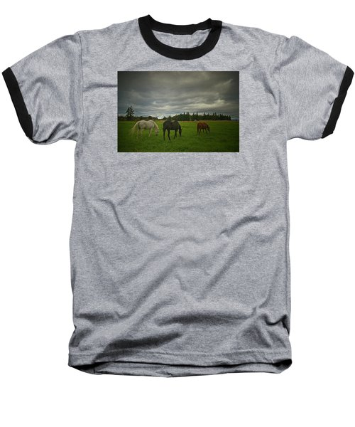 Horses Under Heavy Sky Baseball T-Shirt