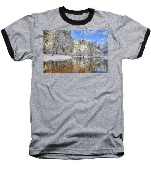 Horsetail Fall Reflections Winter Yosemite National Park Baseball T-Shirt