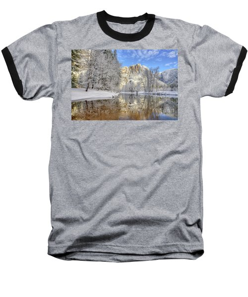 Horsetail Fall Reflections Winter Yosemite National Park Baseball T-Shirt