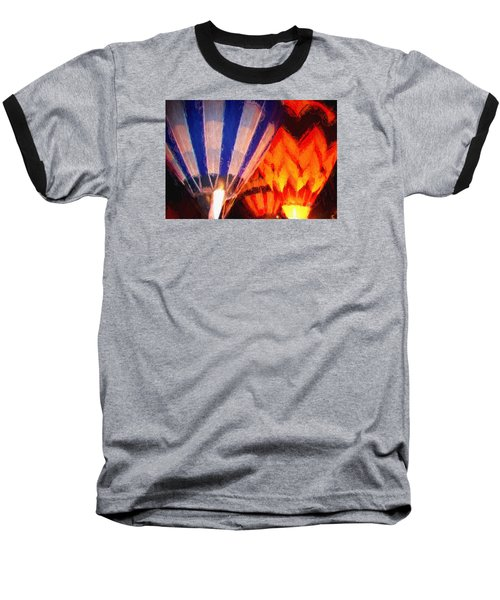 Hot Air Balloon Baseball T-Shirt by Kathy Bassett