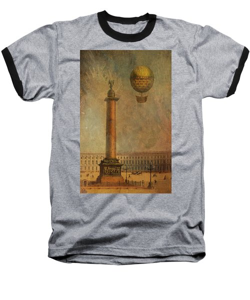 Baseball T-Shirt featuring the digital art Hot Air Balloon Over St Petersburg And The Hermitage by Jeff Burgess