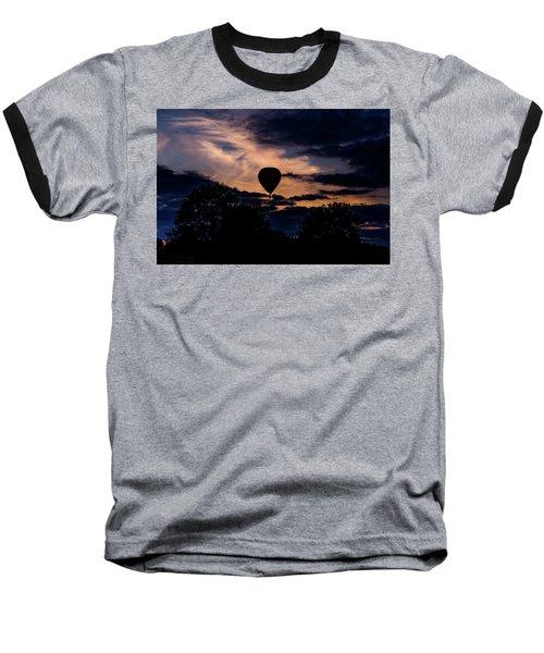 Hot Air Balloon Silhouette At Dusk Baseball T-Shirt