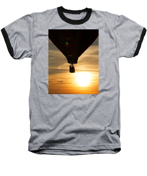 Hot Air Balloon Sunset Silhouette Baseball T-Shirt by Brian Caldwell
