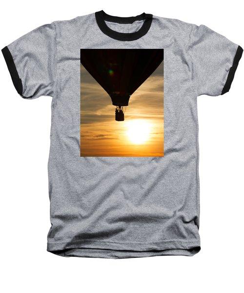 Hot Air Balloon Sunset Silhouette Baseball T-Shirt