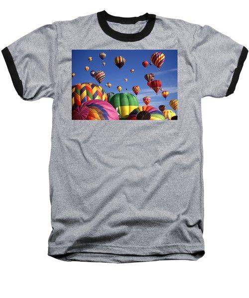 Beautiful Balloons On Blue Sky Baseball T-Shirt by Art America Gallery Peter Potter