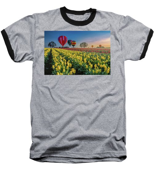 Hot Air Balloons Over Tulip Fields Baseball T-Shirt