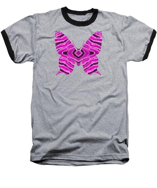 Hot Pink Butterfly Baseball T-Shirt