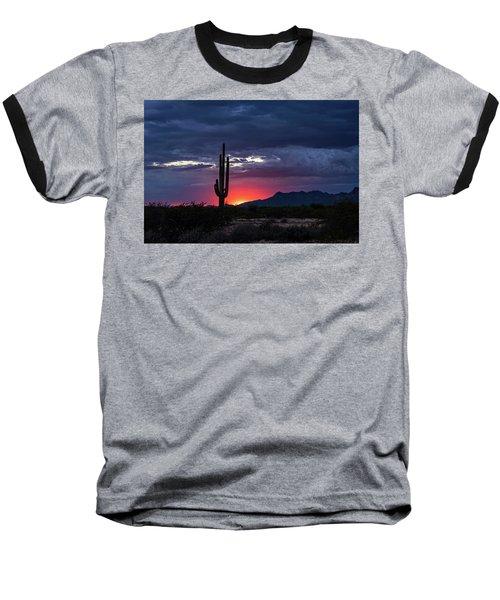 Baseball T-Shirt featuring the photograph Hot Pink Saguaro Sunset  by Saija Lehtonen