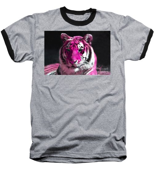 Hot Pink Tiger Baseball T-Shirt by Rebecca Margraf
