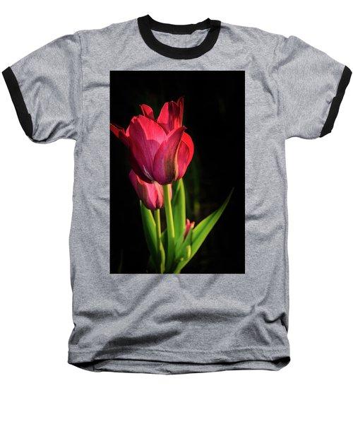 Hot Pink Tulip On Black Baseball T-Shirt