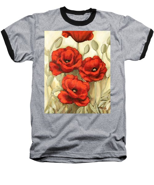 Hot Red Poppies Baseball T-Shirt