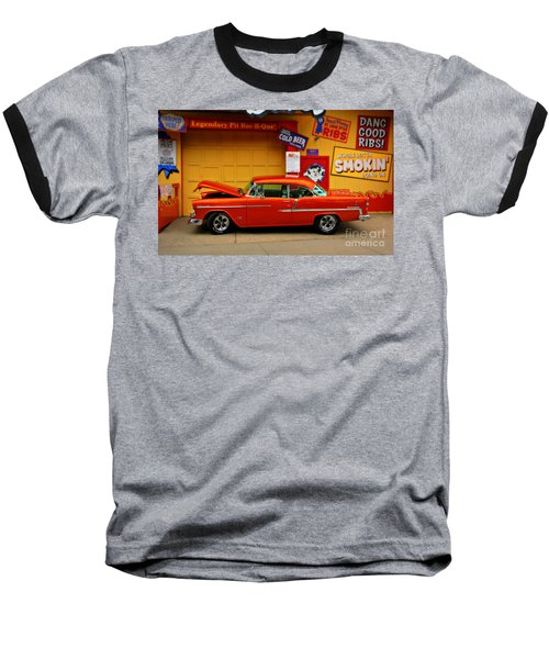 Hot Rod Bbq Baseball T-Shirt by Perry Webster